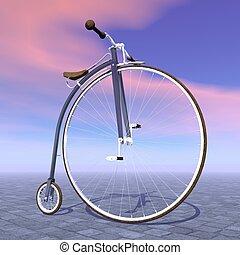 bicicleta, render, penique, -, farthing, 3d