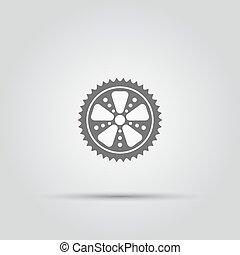 bicicleta, roda dentada, isolado, vetorial, ícone