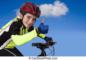 bicicleta, ropa de deporte, niño