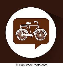 bicicleta, símbolo, vindima, cor, ícone