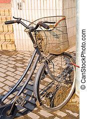 bicicleta, shanghai, ásia, antigas, rua, estacionado, china