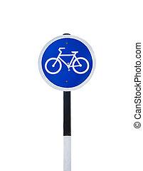 bicicleta, signo., tráfico