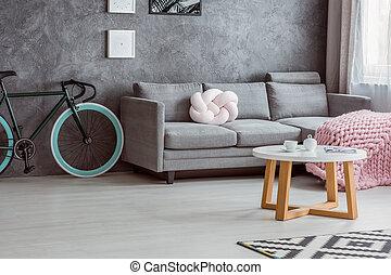 bicicleta, simple, sofá, mesa de centro