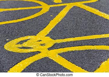 bicicleta, sinal, chão