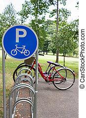bicicleta, sinal estacionamento