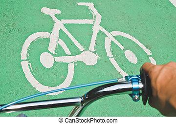 bicicleta, sinal estrada