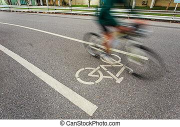 bicicleta, sinal, ou, ícone, e, movimento, de, ciclista, parque
