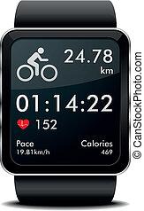 bicicleta, smartwatch, condición física