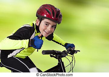 bicicleta, sportswear, criança