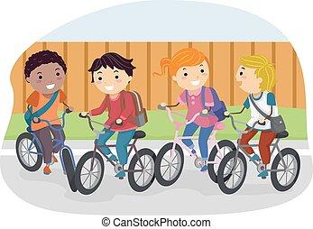 bicicleta, stickman, estudante, crianças