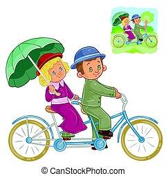 bicicleta, tándem, período, vector, disfraz, pequeño, equitación, niños