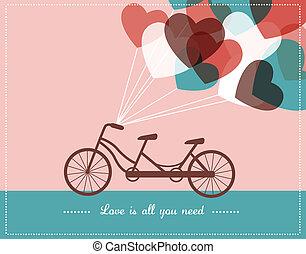 bicicleta tandem, cartão, valentine