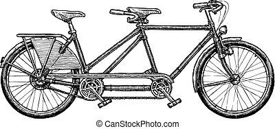 bicicleta tandem, ilustração