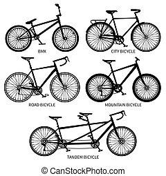 bicicleta, tipos, vetorial, pretas, silhouettes., estrada, montanha, bicicletas tandem, isolado