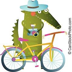 bicicleta, turista, crocodilo, câmera, viajando, mala