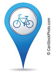 bicicleta, ubicación, iconos