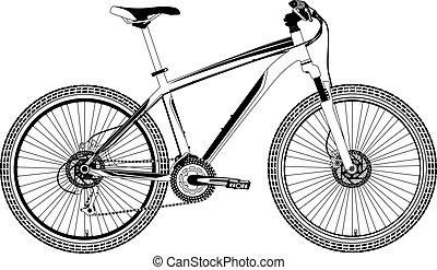 bicicleta, vector, montaña