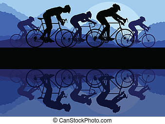 bicicleta, vector, plano de fondo, concepto