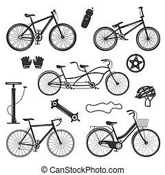 bicicleta, vendimia, elementos, conjunto