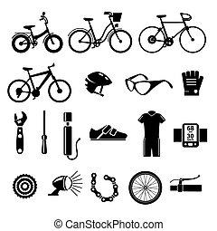 bicicleta, vetorial, jogo, bicicleta, ícones