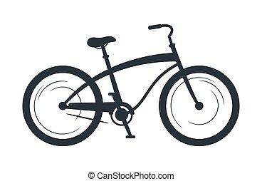 bicicleta, vetorial, silueta, cruzador, ilustração