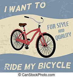 bicicleta, vindima, cartaz