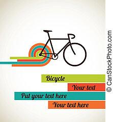 bicicleta, vindima, estilo, cartaz