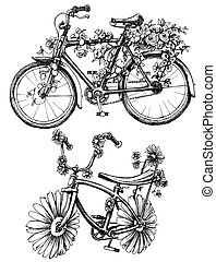 bicicletas, con, flores, dibujos, conjunto