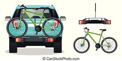 bicicletas, plano, estilo, espalda, ilustración, aislado, fondo., vector, cargado, blanco, suv., vista.