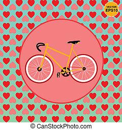 bicicletta, amore, con, cuore, modelli, backg