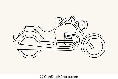 bicicletta, arte, illustration., vettore, linea, design., icona