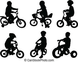 bicicletta cavalca, bambini