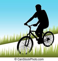 bicicletta cavalca, uomo
