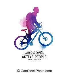 bicicletta cavalca, watercolour, uomo