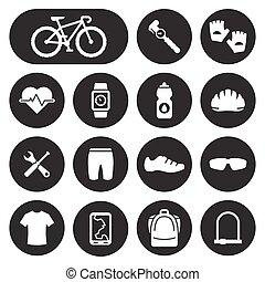 bicicletta, ciclismo, accessori, icone