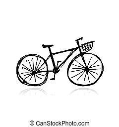 bicicletta col canestro, schizzo, per, tuo, disegno