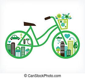 bicicletta, con, verde, città, -, vettore