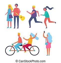 bicicletta, coppia, insieme, vettore, illustrazione, sentiero per cavalcate
