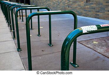 bicicletta, cremagliere, vuoto, fila