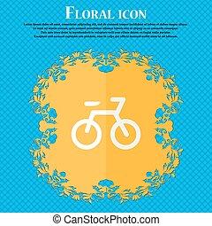 bicicletta, ., floreale, appartamento, disegno, su, uno, blu, astratto, fondo, con, posto, per, tuo, text., vettore