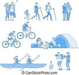 bicicletta, gruppo famiglia, turista, andando gita, natura, amici, escursionisti, characters., esplorare, vettore, falò, trekking, sentiero per cavalcate, linea, trasportando zattera, viaggiare, barca
