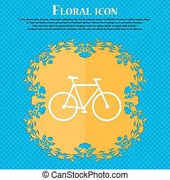 bicicletta, icon., floreale, appartamento, disegno, su, uno, blu, astratto, fondo, con, posto, per, tuo, text., vettore