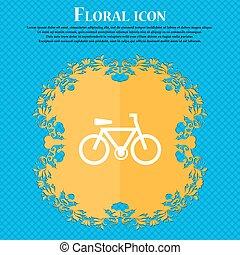 bicicletta, icona, segno., floreale, appartamento, disegno, su, uno, blu, astratto, fondo, con, posto, per, tuo, text., vettore