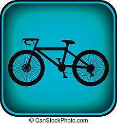bicicletta, icona, su, quadrato, internet, bottone
