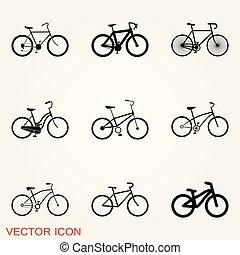 bicicletta, illustrazione, elemento, fondo., vettore, icon.