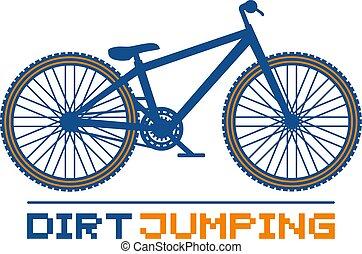 bicicletta, illustrazione, saltare, sporcizia
