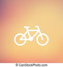 bicicletta, linea sottile, icona