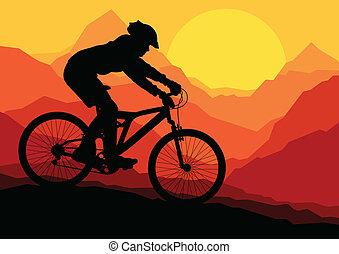bicicletta montagna, bicicletta, cavalieri, in, selvatico,...