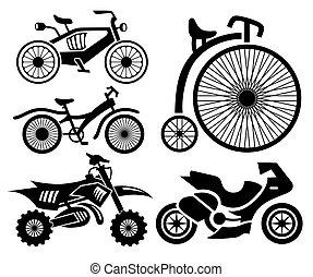 bicicletta, motocicletta, collezione, icone