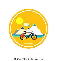 bicicletta, mountain., tourism.